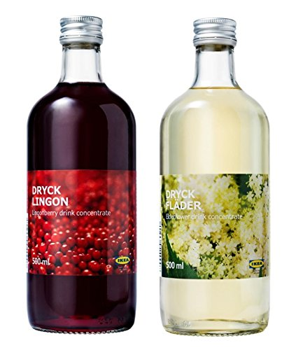 Ikea Lingonberry and Elderflower Syrup Bundle - Includes Sweet Swedish Dryck Lingonberry Fruit Juice Drink Concentrate (500 ml) and Dryck Flader Elderflower Concentrate (500 ml)