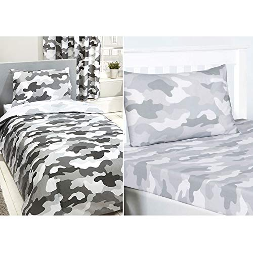 Price Right Home Grey Army Camouflage Single Duvet Cover Set & Fitted Sheet and Pillowcase Set
