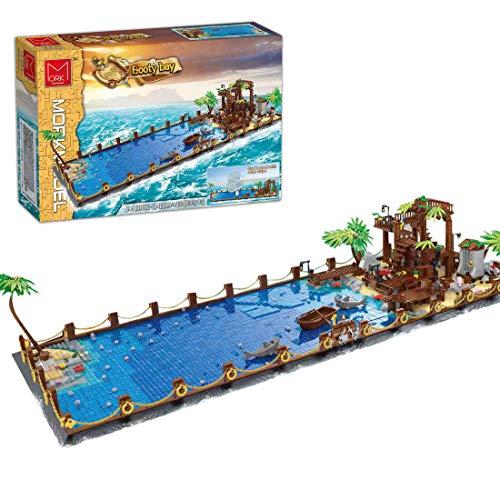 Elroy369Lion Juego de construcción con placa base de Piratas del Caribe, con tiburón, barco y cofre del tesoro, miniarquitectura, juguete de construcción para adultos y jóvenes (4083 unidades)