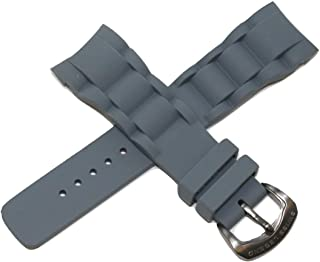 Swiss Legend 28MM Grey Silicone Rubber Watch Band w/Gunmetal Stainless Buckle fits 37mm Commander Watch