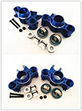 CrazyRacer Front and Rear Aluminum Steering Block Knuckle Arm with Rubber Shielded Bearings -4PCS Set Blue for Traxxas E-REVO EREVO Summit E-MAXX T-MAXX3.3 Slayer Pro 4X4 5334R