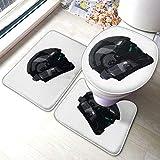 Halo ODST Helmet 3 Piece Bath Mat Set (23.6 '' X 15.7 ''), Non-Slip, Soft, Bath Mat + U Shape Outline + Toilet Cover