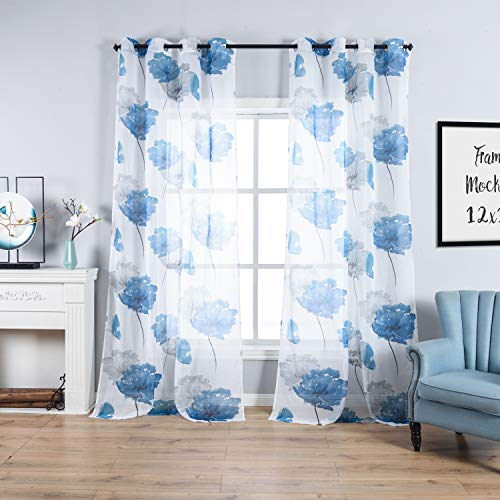 Taisier Home Lotus Leaf Nature Art Decor Watercolor Style Sheer Window Treatment Curtains with Floral Printed, 2 Panels 84 Inch Length Grommet Window Drapes for Bedroom, Blue Flower