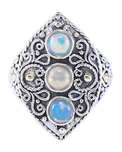 Crystalcraftindia Ring, 925er Sterlingsilber, Opal, Edelstein, Gold, Punkte, Größe 6, 10,40 g