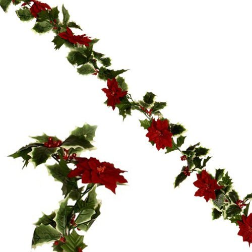 FloristryWarehouse guirnalda de Navidad con color rojo flores de pascua y Holly 1.8 M