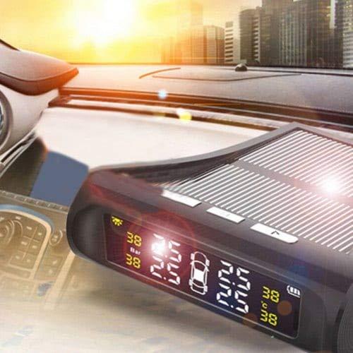 HaiMa Digital LCD Pneu Roue Jauge De Pression De L'Énergie Solaire USB Recharge Testeur Universel-Noir