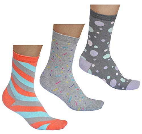 vitsocks Bunte Damen Socken (3x Pack) mit Muster aus BAUMWOLLE, Streifen Punkte Kreise, grau & mehrfarbig, JOY, 35-38