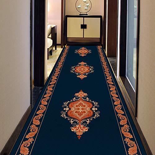 alfombra de Pasillo Estilo Oriental Corredor Borde Floral, Grueso Fibra de Poliester Alfombras de Área, Antideslizante Hogar Entrada Felpudo