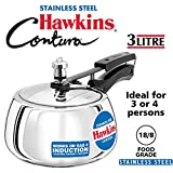 Hawkins Contura Stainless Steel Pressure Cooker, 3 Litres