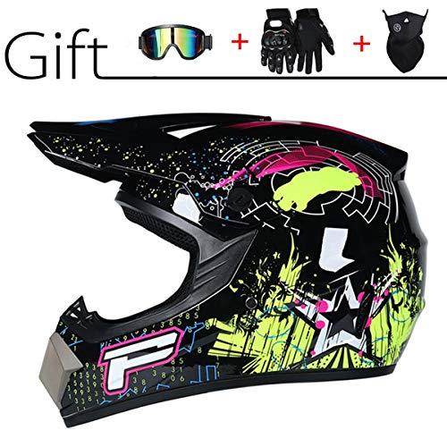 Motocrosshelm voor volwassenen, heren, dames, motorfiets-racefiets, jongens, mountainbike, MTB, DH Cross, met handschoenen masker