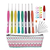 New Ergonomic Crochet Hooks Set with Storage Case, 8 Size Crochet Hooks from C to J