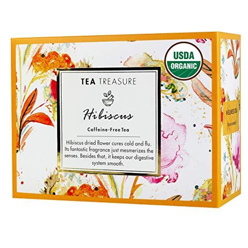 TeaTreasure USDA Organic Hibiscus Flower Caffeine Free...