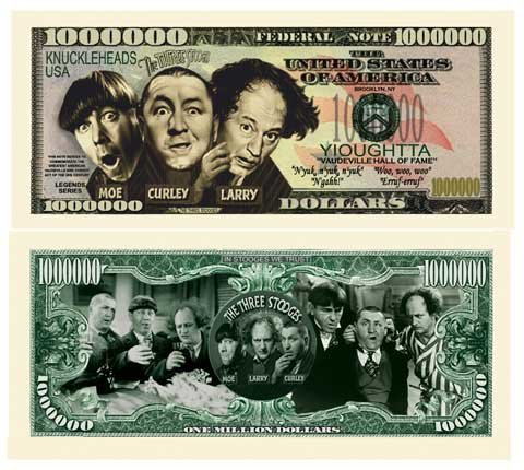Three Stooges (3 Stooges) Million Dollar Bill With Bill Protector - Limited Edition - Best For Collecting, Full Color, Real Money Size. Makes A Great Gift.
