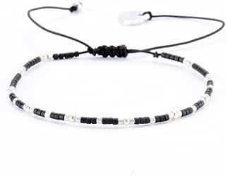 Beaded Single Strand Adjustable-Size Bracelet, Black
