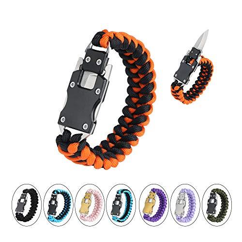 WEREWOLVES Paracord Knife Bracelet Survival Cord Bracelets, Emergency Tactical EDC Paracord Bracelet,Survival Gear Kit for Hiking Traveling Camping, Best Gift for Men & Women (Orange)