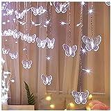 Luces de cadena de mariposa impermeable al aire libre, luces de cadena de hielo de decoración de Navidad, 216 LEDs Fondo de boda de fiesta luces de hadas (Color : Cool white)