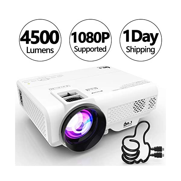 DR. J Professional 4500L Mini Projector Full HD 1080P Supported Portable Video Projector,...