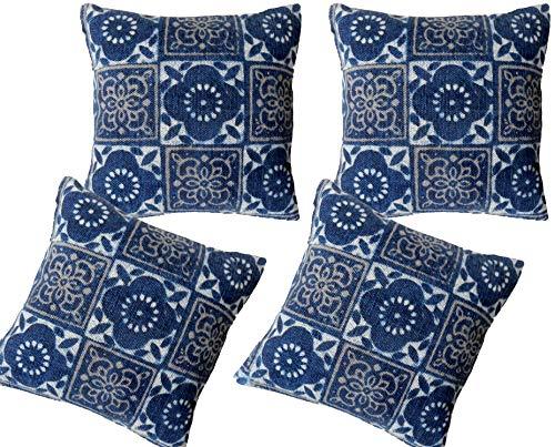 Handicraft Bazarr 4 Pcs Set Turkish Traditional Vintage Maternity Cotton Cushion Cover Vintage Neck Cotton Pillow Cover Boho Indigo Tie Dye Block Print Study Cushion Bed Rest Pillow Cover