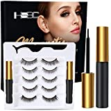 Upgraded 3D Magnetic Eyelashes Kit, Reusable Magnetic Eyelashes with Eyeliner,Magnetic Eyeliner and Magnetic Eyelash-No Glue Needed (5-Pairs)