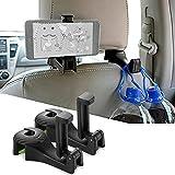 Rlfearl Multifunctional Car Vehicle Back Seat Adjustable Headrest Mobile Phone Holder Hanger Holder Hook for Bag Purse Cloth Grocery Universal Automative Purse Handbag Holder Hangers Organizers 2-Pack