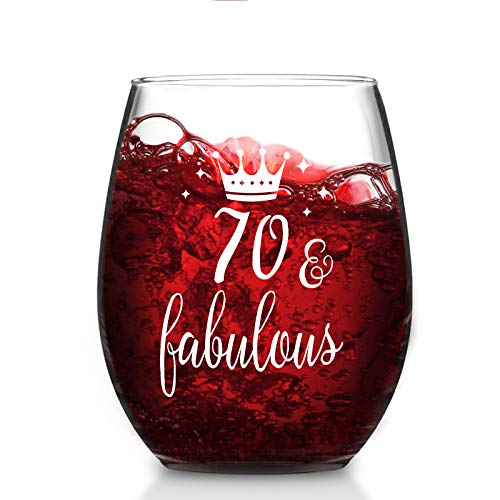 Modwnfy 70 & Fabulous Stemless Wine Glass 15 Oz, 70th Birthday Anniversary Wine Glass for Men Women Lover Friend Coworker Family, Gift Idea for Christmas Birthday Anniversary Party
