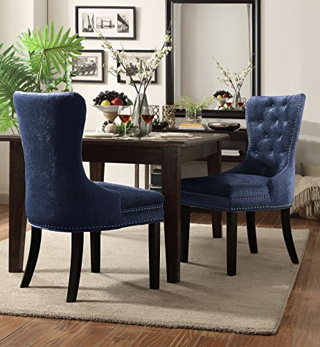 Chic Home Diana Velvet Modern Contemporary Button Tufted Armless with Silver Nailhead Trim Tapered Solid Birch Legs Dining Chair, Blue(Set of 2)