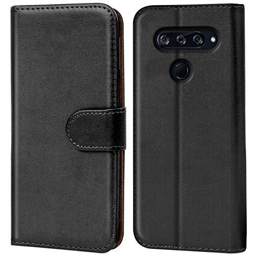 Verco LG V40 Hülle, Handyhülle für LG V40 Tasche PU Leder Flip Case Brieftasche - Schwarz