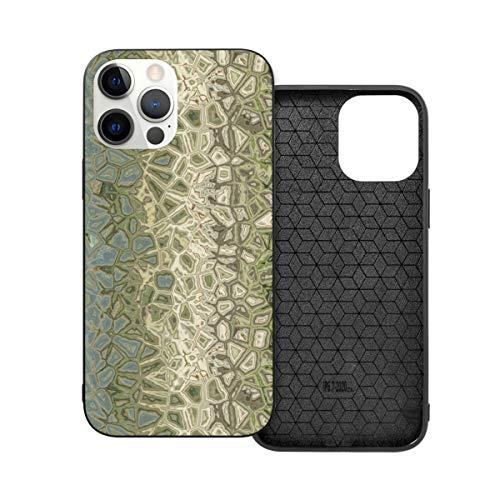 Funda protectora compatible con iPhone 12 / iPhone 12 Pro Bamboo Chaos Pebbles Terrazzo Moss Verde Beige Funda de silicona suave TPU