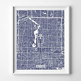 Beijing China City Street Map Wall Art Home Decor Poster Urban City Hometown Road Print - 70 Color Choices - Unframed