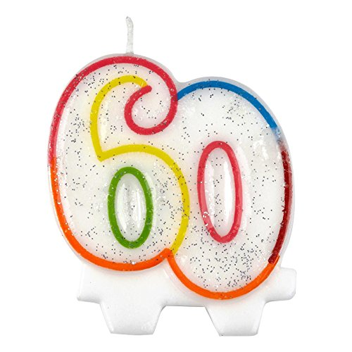 Milestone Joyeux anniversaire 60 ans Multicolore en cire gâteau Décoration de vaisselle de fête