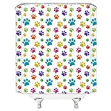 qianliansheji Dog Lover Shower Curtain, Cute Hand Drawn Paw Print Doodles Circular Pattern Children Drawing Style Animal, Fabric Bathroom Decor Set with Hooks, 70 inches, Multicolor