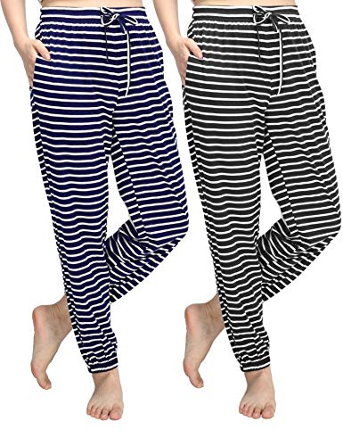 WEWINK CUKOO - Pantaloni da Donna in Cotone Elasticizzato, con Tasche Blue Striped + Black Striped 50 IT/XXL