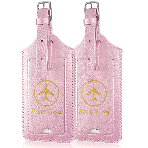 ACdream Luggage Tags 2 Pack, Leather Suitcase Tags Identifiers, Cute Cruise ID Labels with Privacy Cover fits on Backpack, Travel Bag, for Women, Men, Adults, Kids, Rose Gold