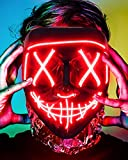 Lizber Halloween Mask Costume, Creepy Led Light Up Mask with Neon Wire, Halloween Mask Cosplay Glowing Mask with 3 Lighting Modes Glow in The Dark Mask, Jacinth Red