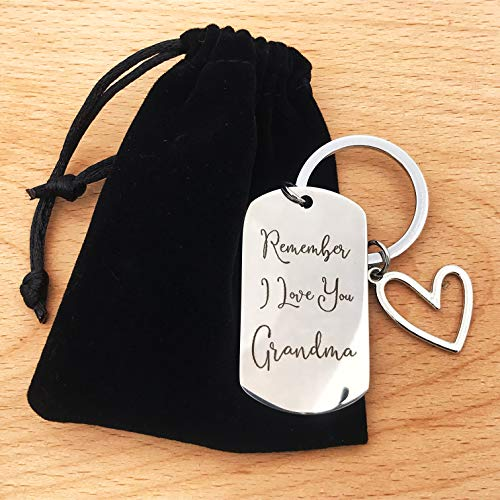 Grandma Gift Keychain - Remember I Love You Grandma, Mother's Day Gifts for Grandma Grandmother Gifts from Granddaughter/Grandson