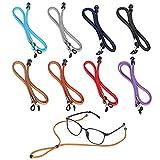 VEGCOO 8 Piezas Cadena de gafas Cuero de PU, Cuerda de Gafas Clásica Correa Ajustable para Gafas para Mujer Hombre Niño