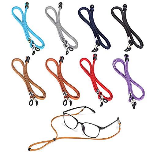 VEGCOO 8 Piezas Correa Gafas Cuero de PU, Cuerda Gafas Clásica Cadena de Gafas Ajustable para Mujer Hombre Niña Niño