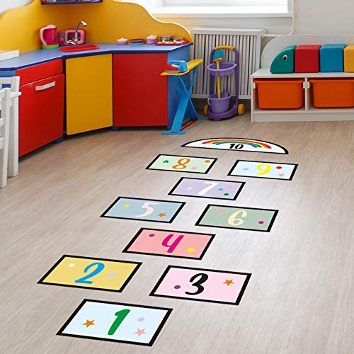 Lattice Floor Sticker Puzzle Games Number Hopscotch Footprint Creative Decoration Decals Room Ground Corridor Wallpaper Decor Gym   Funny Number Hopscotch for Child Boosting Gross Motor Skills