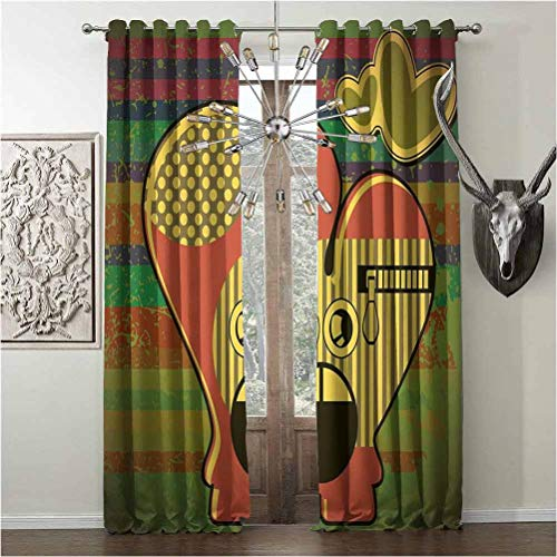 Room Darkening Window Curtains, Modern, soundproof curtain, Cute Monster on Grunge Striped Backdrop with Zipped Head Heart Graphic, insulating noise valances, Yellow Coral Olive Green, W108 x L108 Inc