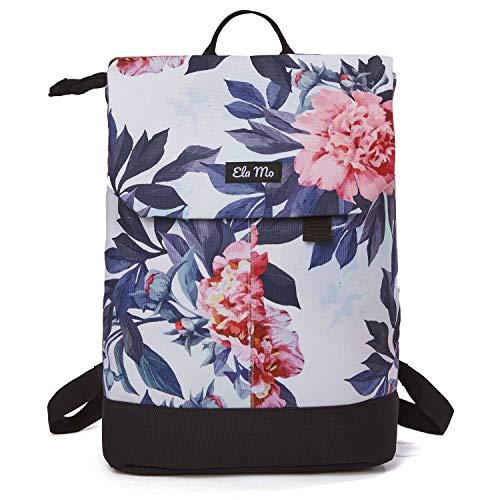 Ela Mo Rucksack Damen - Schön u. Durchdacht - Daypack mit Laptopfach & Anti Diebstahl Tasche für Ausflüge, Uni, Schule u. Büro (Bloom)