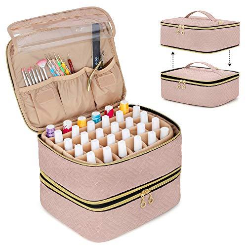 Luxja Nagellack Aufbewahrung Tasche, Nagellack Tasche Organizer für 60 Nagellackflaschen (bis zu 15 ml) und Nageldesign Zubehör, Doppelschicht Kosmetiktasche für Nagel Gel Sets, Rosa