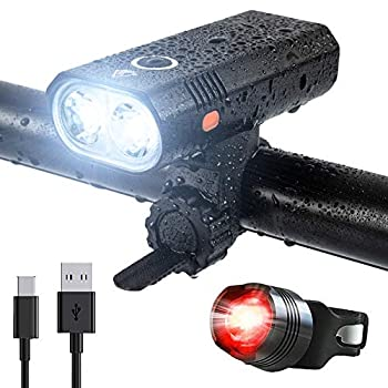 USB Rechargeable 2 LED Bike Lights Set Super Bright Front and Back Rear Bicycle Light Combo IPX5 Waterproof 800LM Cycling Light Mountain Road Helmet Cycle Headlight and Taillight Set  5 Modes