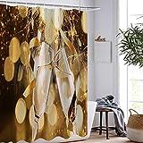Brandless Champagner Duschvorhänge Rotwein Duschvorhang Home Decor Wasserdicht Waschbarer Badezimmervorhang-B150xH180cm