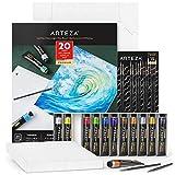 Arteza Metallic Acrylic Painting Art Set, 12 Colors Acrylic Paint, 15 Detail Brushes and 7x8.6...
