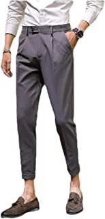 Abetteric Mens Solid Slim-Tapered No-Iron Business Simple Plain-Front Pant