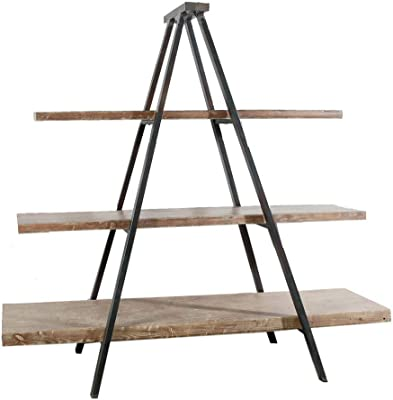 Industrial Ladder Shelves, 3-Tier Bookshelf with Metal Frame and Wood Look, Standing Organizer She