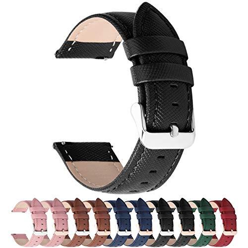 Fullmosa 14mm,16mm,18mm,20mm,22mm,24mm Bracelet de Montre en Cuir véritable,Cross Montre Bracelet Homme Femme à Dégagement Rapide,20mm Noir+Boucle Argent