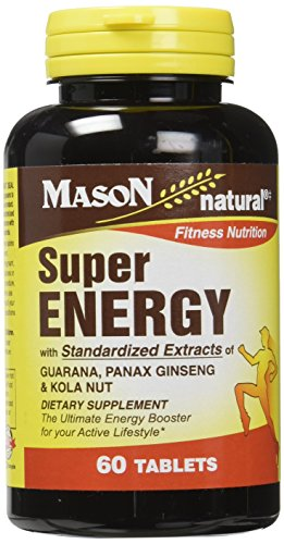 Mason Vitamins Super Energy with Guarana, Panax Ginseng & Kola Nut Tablets, 60 Count