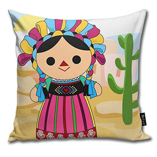 Rasyko Maria 3 mexikanische Puppe, Kissenbezug, für Geschenk, Zuhause, Couch für Bett, Auto, Sofa, Größe: 45,7 x 45,7 cm