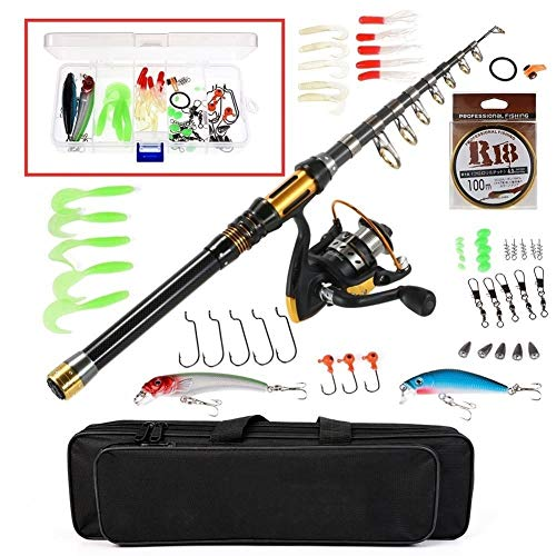 Edward Jackson Angelrute Teleskop Angelrute und Spule Combo Full Kit Spinning Angelrolle Gang Organizer Pole Set Angel Angelrute (Color : 2.4 m)